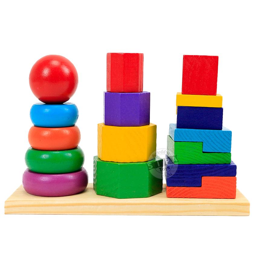 ของเล่นไม้ 3 หลักเรียนรูปรูปทรง ขนาด สี