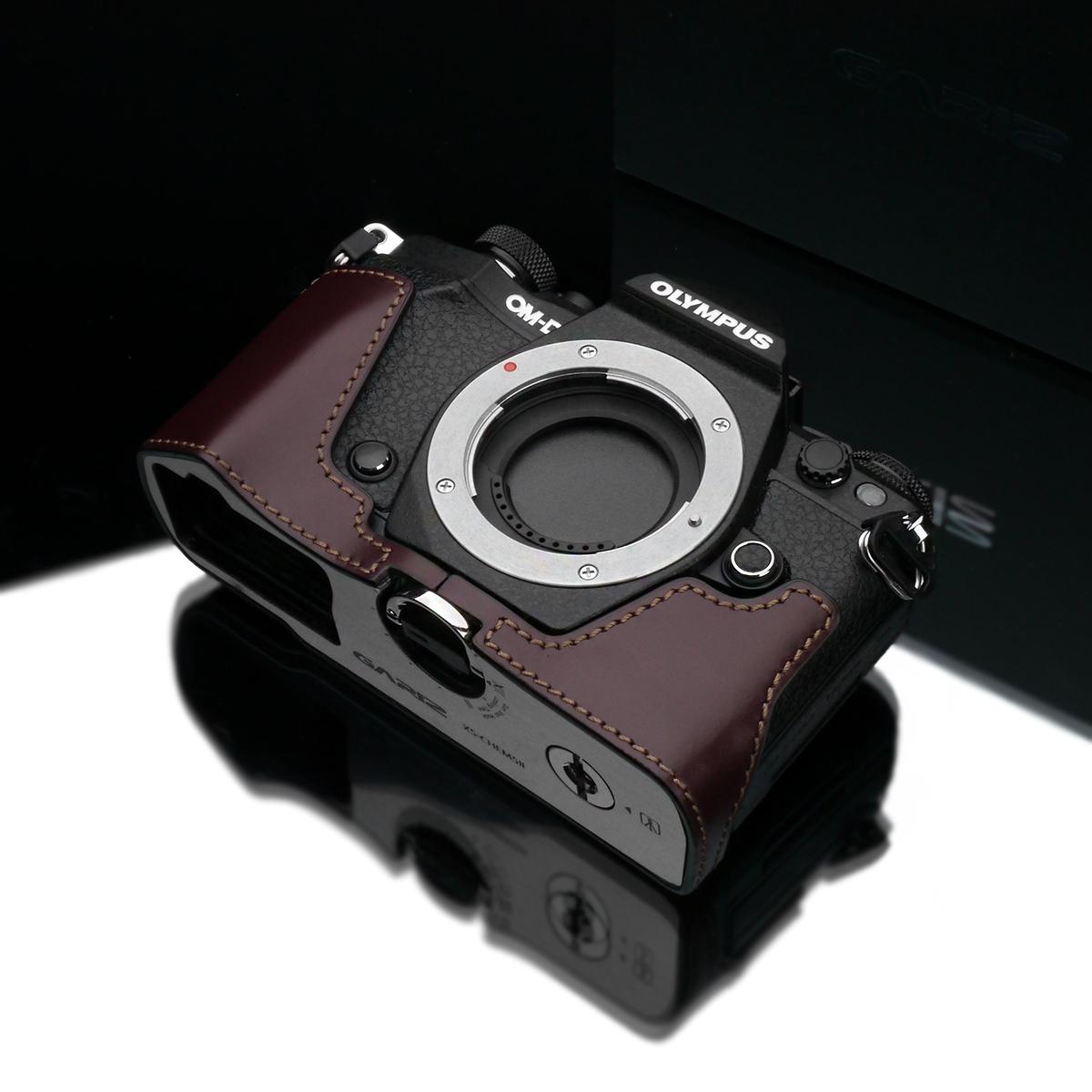 Gariz Leather Half-case for Olympus E-M5 II : Brown