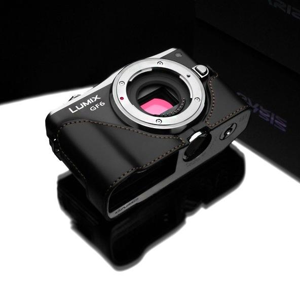 Gariz Leather Half-case for Lumix GF6: Black