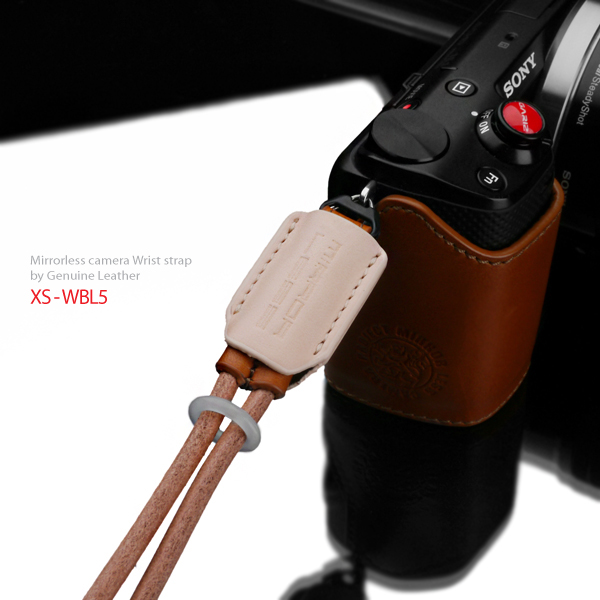 Gariz Leather Wrist Strap : XS-WBL5 (Tan beige)
