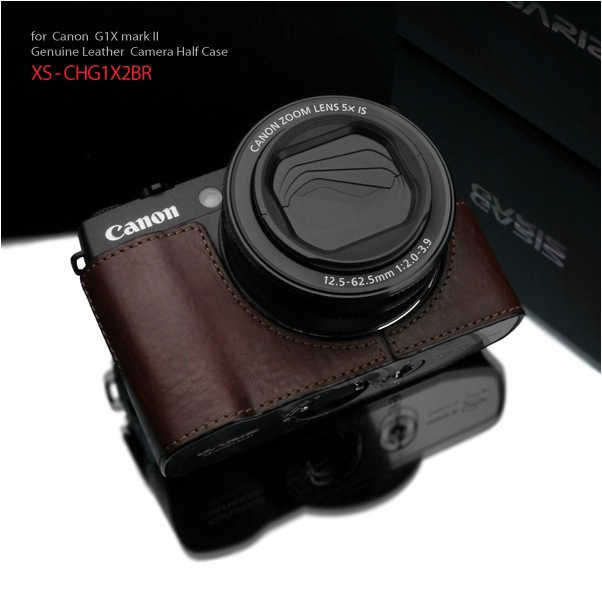 Gariz Leather Half-case for Canon G1X Mark II : Brown