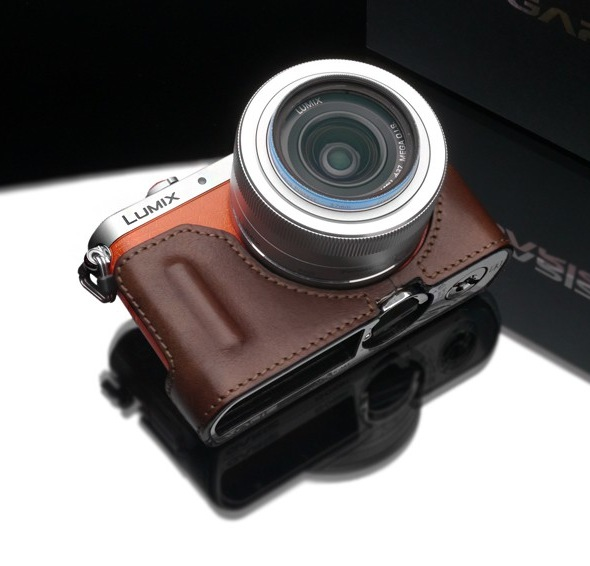 Gariz Leather Half-case for Lumix GM1: Brown (HG)
