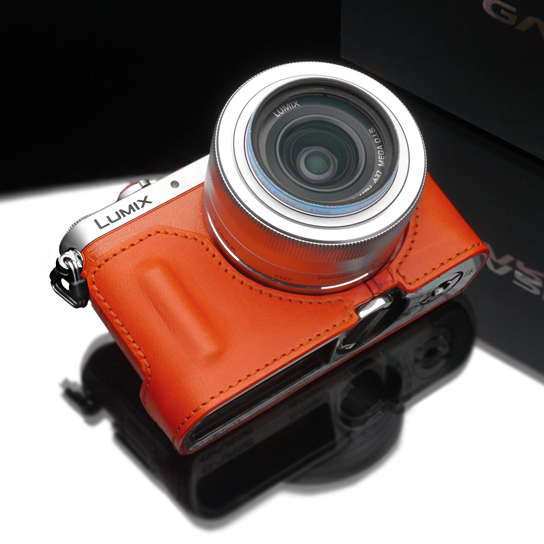 Gariz Leather Half-case for Lumix GM1: Orange (HG)