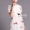 Ice Vanilla Love Animal Print Organza Dress With Belt