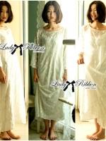 Lady Ribbon Embellished Organza Maxi Dress