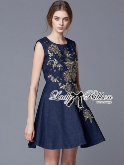 Lady Ribbon Golden Flower Embroidered Denim Dress