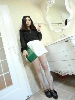 เสื้อ ผ้า Cotton ผสม Spandex ตัดต่อผ้าชีฟองช่วงแขน สีดำ